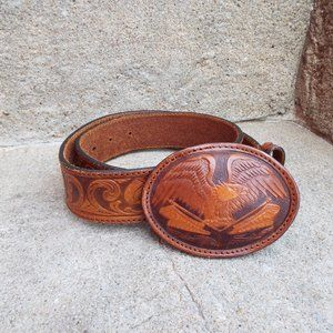 Men's Size 30 Eagles & Flags Tooled Leather Belt